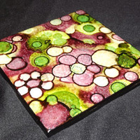 Ink Coasters - Alcohol Ink Tile - Handcrafted Art - Ceramic Tile Coaster - Candle Plate - Art Coaster Set - Abstract Painting - Tile Coaster