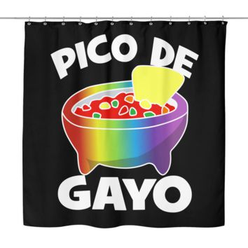 "LGBT Gay Pride Shower Curtain by Living Gay | Pico de Gayo, 70"" x 70"", 100% Woven Polyester"