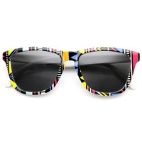Limited Edition Indie Retro Native Geometric Print Keyhole Horned Rim Sunglasses 9377