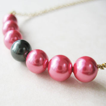 Gift For Women - Bright Pink Fuchsia Pearl Necklace