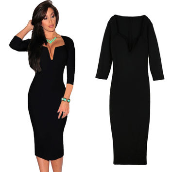 Deep V Neck Three Quarter Sleeves Zipper Back Bodycon Midi Dress