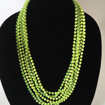 Vintage Lime Green Beaded Necklace, Mod Retro Lucite Bead Necklace, Multi Strands of Lime Green Faceted Beads, 1960s 1970s Jewelry