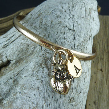 Heart Bangle with Initial - Bronze Bangle with Anatomical Heart and Letter Of Your Choice - Heart Bracelet