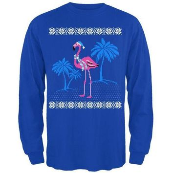 PEAPGQ9 Flamingo Winter Ugly Christmas Sweater Mens Long Sleeve T Shirt