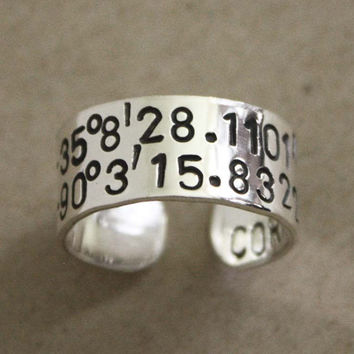 Sterling Silver Latitiude longitude ring, coordinate ring, location ring, adjustable ring, latitude longitude coordinates, engraved rings