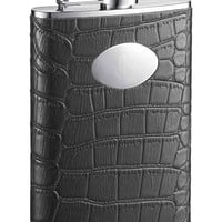 Visol Noir Black Crocodile Leather Hip Flask - 8 oz