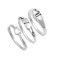 925 Sterling Silver Set of 3 Heart 7MM Ring