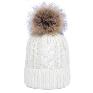 women hat Double layer Cashmere Winter Crochet Hat Wool Knit Warm Cap winter Men cap Double-layer cashmere ball hooded