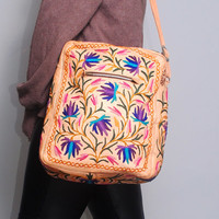 Rare Vintage 1960s Oversized XL brown LEATHER mexican EMBROIDERED rainbow Floral cream colored Shopper tote handbag purse metal zipper