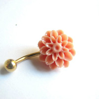 Coral Flower Belly Button Jewelry Gold Non Dangle Bellybutton Ring
