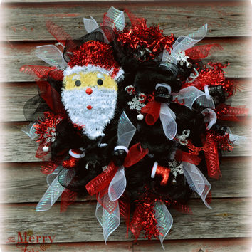Christmas Wreath/ Santa Wreath/ Black and Red Christmas Wreath/ Santa Boots Christmas Wreath