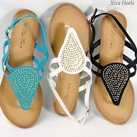 Womens Gladiator Flat Sandals Studs and Rhinestone Front Design Slingback Style