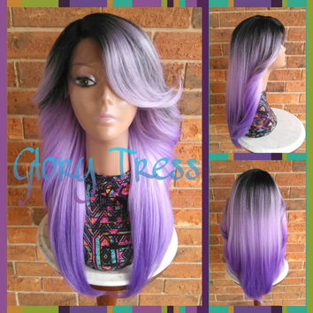 READY To SHIP // Feathered Flip Lace Front Wig, Ombre Lavender wig, Long Yaki Wig, African American Wig // ROYAL (Free Shipping)