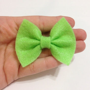 Mini Lime Green Felt Hair Bow on Alligator Clip - 2.5 Inches Wide - AFFORDABOW Line - Affordable and High Quality Hair Bows