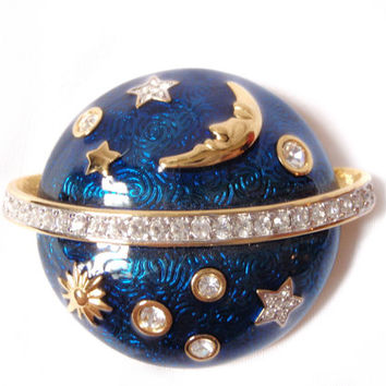 Swarovski Signed Brooch Guilloche Enamel, Crystals, Moon and Stars Gold Plated High Fashion Pin