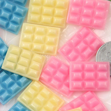 20mm Baby Chocolate Bar Colorful Resin Flatback Cabochons, in Pastel Colors - 9 pc set
