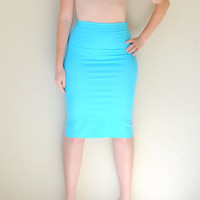 Hand Dyed High Waist Pencil Skirt in Stretch Knit Cotton - Fitted Pencil Skirt - Wear 2 Ways - Sizes XS, S, M, L, and XL