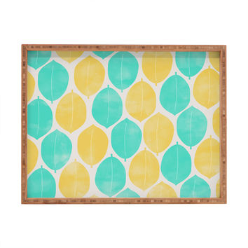 Allyson Johnson Summer Leaves Rectangular Tray
