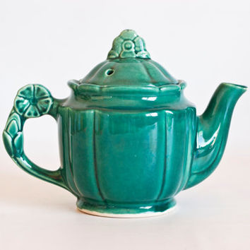 Vintage 1940s Shawnee Rosette Jade Green Teapot, Flower Handle Tea Pot, Cottage Decor, USA Pottery