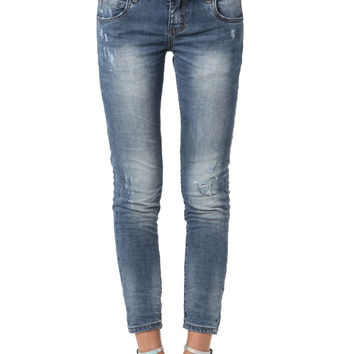 Q2 Skinny Ankle Jeans With Rips