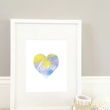 Heart with Love Letters Watercolor Print, wall Art Print. 8x10 print