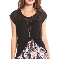 SEMI-SHEER CONTRAST TOP - BLACK