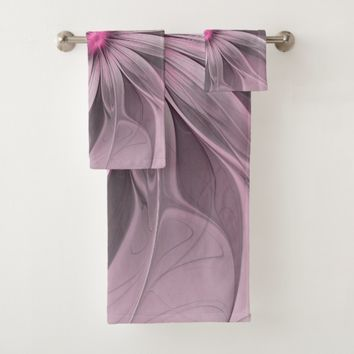 Pink Flower Waiting For A Bee Abstract Fractal Art Bath Towel Set