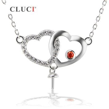 CLUCI 925 sterling silver Bling Heart pendant with one zircons drop charm necklace chain for elegant women Valentines jewelry