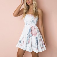 Strapless Sweet Holiday Boho Dresses Elegant Ruffles Print FLoral Dress Beach Dress