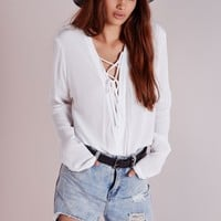 LACE UP WRAP BLOUSE WHITE