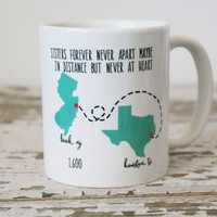 State or Country Heart Coffee Mugs with Quotes | Best Friend Gift | Going Away Gift | Moving Away | Long Distance Relationship | Graduation