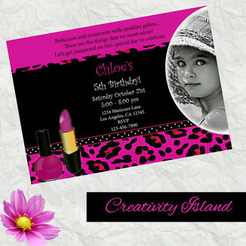 Spa party girl's invitations with pic! 4x6!