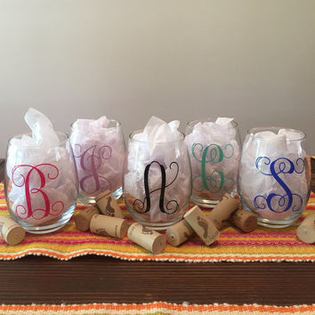 Set of 5 Monogrammed Wine Glasses