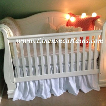 2 piece CRIB / Mini- CRIB Bedding- Fitted Crib bedding - Cotton crib sheet - Crib Bed skirt - Gathered Bed skirt - crib bedskirt