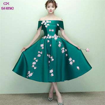 CX SHINE Custom Color!short bridesmaid dresses flowers tea-length Boat Neck wedding Party dress, Mid-calf prom dress Plus Size
