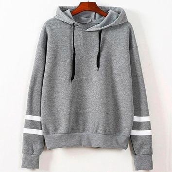 Plus Size Fashion Patchwork Stripe Sweatshirt Womens Long Sleeve Hoodie Jumper Hooded Pullover Tops Blouse White Green Gray