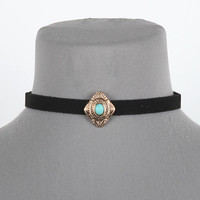 """12"""" faux suede pendent boho choker collar necklace"""