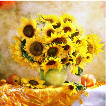 new diy 5d diamond painting embroidery Sunflower vase round diamond painting cross stitch kits diamond mosaic home decor gift