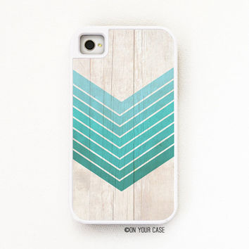 iPhone 4 Case. iPhone 4S Case. Tough Case Wood Grain Geometric Ombre Teal -  Silicone Lined
