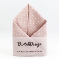 Dusty Pink Pocket Handkerchief by BartekDesign white polka dots