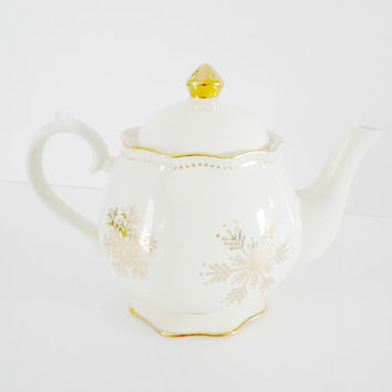 Gold Teapot Cream Cracker Barrel Season of Glory Snowflake Christmas Servingware