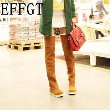 EFFGT 2017 Winter Fashion Explosion Models Snow Boots Women Knee high boots Heavy-Bottomed Shoes Female Zapatos Mujer H64