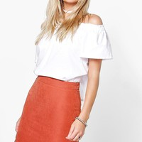 Laola Scalloped Hem Woven A Line Skirt