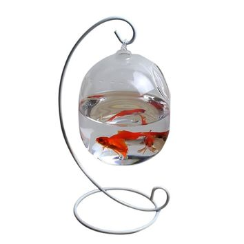 Clear 12cm Height Hanging Glass Aquarium Fish Bowl Fish Tank Flower Plant Vase Home Decoration with 23cm Height White Rack