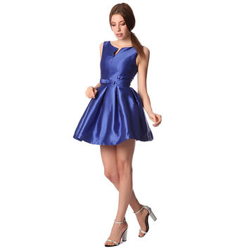 Electric blue bow waist skater dress