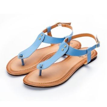 Alexis Leroy Summer Beach Leather Thong Adjustable Ankle Straps Flats Sandals