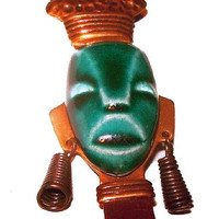 "Elzac Brooch Green Pottery Face Mask Copper Metal Uganda African Lady 2 1/2"" Vintage"