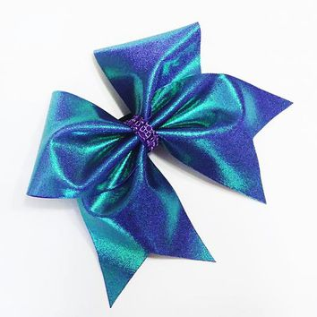 Cheer bows, Green purple cheer bow, cheerleading bow, cheerleader bow, cheer bow, softball bow, large cheer bow, dance bow, large hair bow
