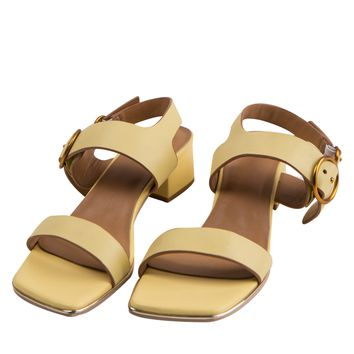 Strappy Chunky Heeled Sandals-Yellow