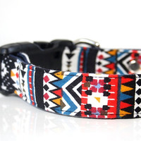 Aztec Bohemian Flannel Dog Collar